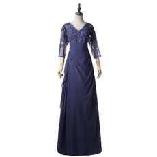 Custom V-Neck Organza Mother of the Bride Dresses with 3/4 Long Sleeves
