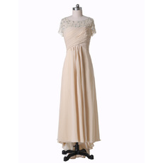 Luxury Crystal Beaded High-Low Ruching Chiffon Mother of The Bride Dresses with Short Sleeves
