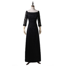 Modest Beaded Appliques Off-the-shoulder Black Satin Mother of The Bride Dresses with 3/4 Long Sleeves