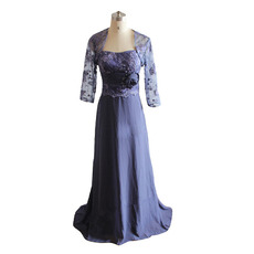Vintage Strapless Empire Full Length Lace Chiffon Plus Size Mother of The Bride Dresses with Jackets and Hand-made Flowers