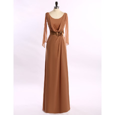 Fashionable A-Line V-back Floor Length Chiffon Cowl Mother of The Bride Dresses with Cap Sleeves and Hand-made Flowers