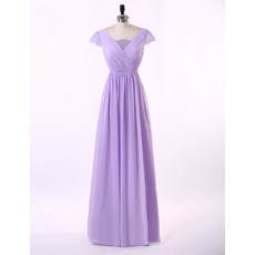 Exquisite A-Line Dluble V-Neck Ruching Chiffon Mother of The Bride Dresses with Short Cap Sleeves