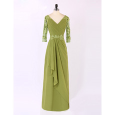 Modest V-Neck Long Appliques Chiffon Plus Size Mother of The Bride Dresses with 3/4 Long Sleeves and Front Ruffles