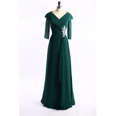 Modest Lapel Full Length Ruching Chiffon Mother of The Groom Dresses/of the Bride Dresses with 3/4 Long Sleeves
