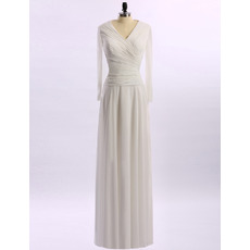 Discount V-Neck Ruched Bodice Full Length Chiffon Mother of The Groom Dresses/of the Bride Dresses with Long Sleeves