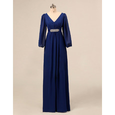 Couture Empire Double V-Neck Ruching Chiffon Plus Size Mother of The Bride Dresses with Long Sleeves