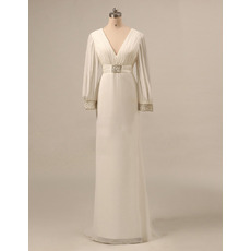 Couture Ruched Bodice Double V-Neck Long Chiffon Plus Size Mother of The Bride Dresses with Long Sleeves and Beaded
