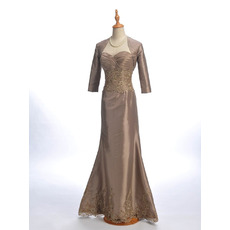 Stylish Trumpet Sweetheart Long Length Ruched Bodice Taffeta Mother of The Groom Dresses/of the Bride Dresses with Jackets