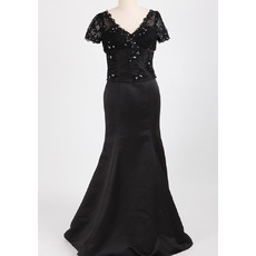 Modest Trumpet V-Neck Long Length Black Satin Mother of The Groom Dresses/of the Bride Dresses with Short Sleeves