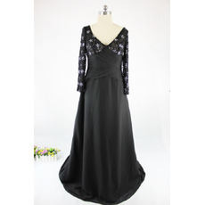 Inexpensive Double V-Neck Long Chiffon Satin Black Plus Size Mother Dresses with Long Lace Sleeves