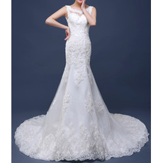Dramatic Mermaid Court Train Applique Beaded Tulle Wedding Dresses with Low Back