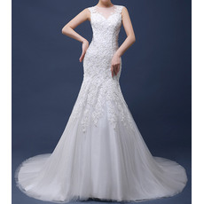 Luxury Beading Appliques Illusion Neckline Tulle Wedding Dresses with Open Back
