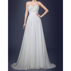 Elegant Empire Beading Sweetheart Neck Beach Pleating Beach Chiffon Wedding Dresses/ Ivory Maternity Bride Gowns