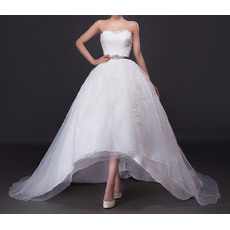 Modern A-Line Strapless High-Low Satin Tulle Wedding Dress/ Stylish Appliques Bride Gowns with Crystal Beading Sashes