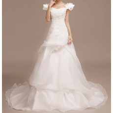 Charming Off-the-shoulder Pick-up Court Train Organza Wedding Dresses/ Romantic 3D Flowers Cap Sleeves Bride Gowns