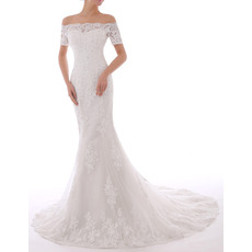 Vintage Sheath Off-the-shoulder Court Train Appliques Beading Tulle Wedding Dresses/ Short Sleeves Bride Gowns