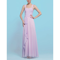 Affordable Sheath Floor Length Chiffon Bridesmaid Dresses with Straps