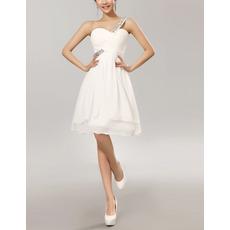 Sexy One Shoulder Sweetheart Knee Length Chiffon Bridesmaid Dresses