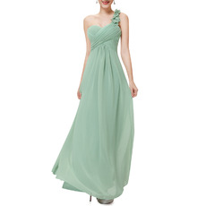 One Shoulder Sweetheart Floor Length Chiffon Bridesmaid Dresses