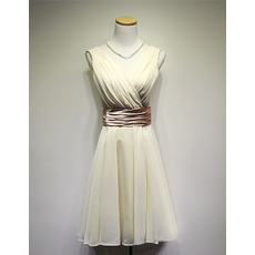 Custom V-Neck Knee Length Chiffon Bridesmaid Dresses with Belts