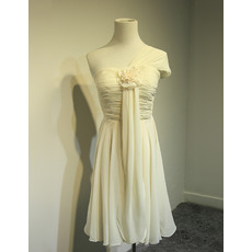 Inexpensive One Shoulder Knee Length Chiffon Bridesmaid Dresses