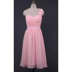 Elegant One Shoulder Sweetheart Knee Length Chiffon Bridesmaid Dresses