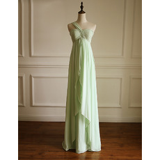 Custom Empire One Shoulder Floor Length Chiffon Bridesmaid Dresses