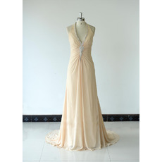Halter V-Neck Floor Length Chiffon Bridesmaid Dresses