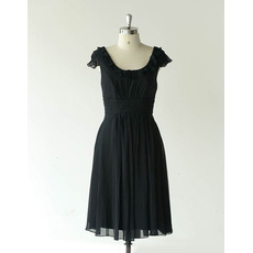 Affordable Cap Sleeves Knee Length Chiffon Black Bridesmaid Dresses