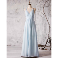 2017 New Spaghetti Straps V-Neck Floor Length Chiffon Bridesmaid Dress