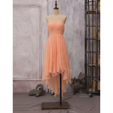 Elegant Strapless High-Low Chiffon Draped Skirt Bridesmaid Dresses