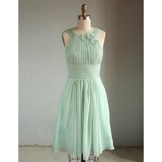 New Style Straps Knee Length Short Chiffon Bridesmaid Dresses