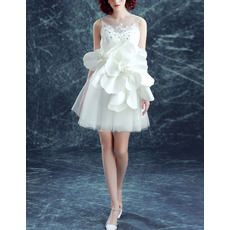 New Style Short Organza Cocktail Dresses with Hand Made Flowers