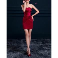 Discount Column Strapless Sleeveless Short Satin Cocktail Party Dresses