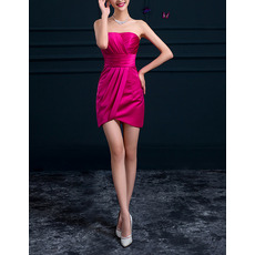 Sexy Column Strapless Sleeveless Short Satin Ruched Cocktail Dresses