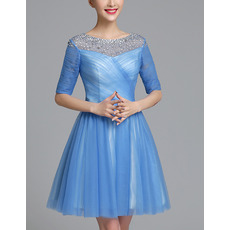 Inexpensive Short Taffeta Organza Cocktail Dresses with Half Sleeves
