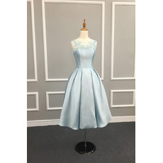 Vintage Ball Gown Tea Length Satin Tulle Embroidery Cocktail Dresses