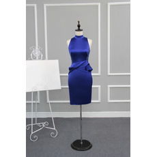 Column Mandarin Collar Sleeveless Short Satin Cocktail Dresses