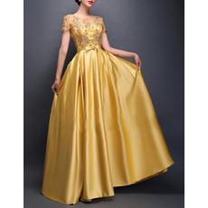 Elegant Floor Length Satin Evening/ Prom Dresses with Short Sleeves