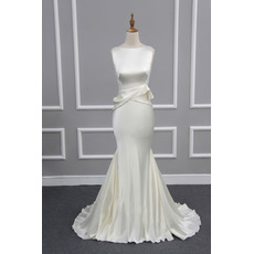 Custom Sheath Sleeveless Sweep Train Satin Evening/ Prom/ Formal Dress