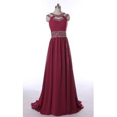 New Style Sweep Train Chiffon Evening/ Prom/ Formal Dresses