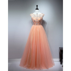 Custom Ball Gown Floor Length Tulle Beaded Bodice Evening Dresses