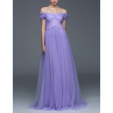 Discount Off-the-shoulder Cap Sleeves Long Chiffon Evening Dresses