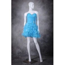 Sweet Beading Sweetheart Short Organza Homecoming Party Dresses with Ruffles Galore Skirt