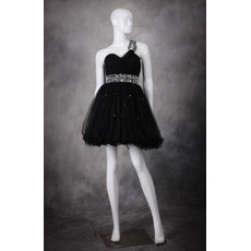 Cute A-Line One Shoulder Short Organza Black Homecoming Dresses