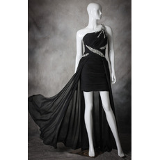 Sexy One Shoulder High-Low Asymmetric Chiffon Black Homecoming Dresses