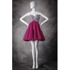 2017 New Sweetheart Short Organza Rhinestone Homecoming Dresses