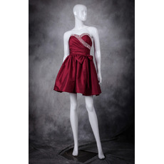 Perfect A-Line Sweetheart Short Pleated Taffeta Homecoming Party Dresses with Beading Crystal Detail