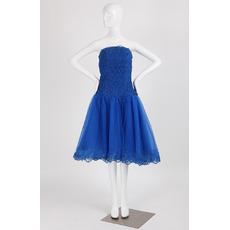 Custom Strapless Sleeveless Knee Length Lace Homecoming Dresses