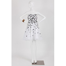 Affordable A-Line Strapless Short Organza Dot Homecoming Dresses